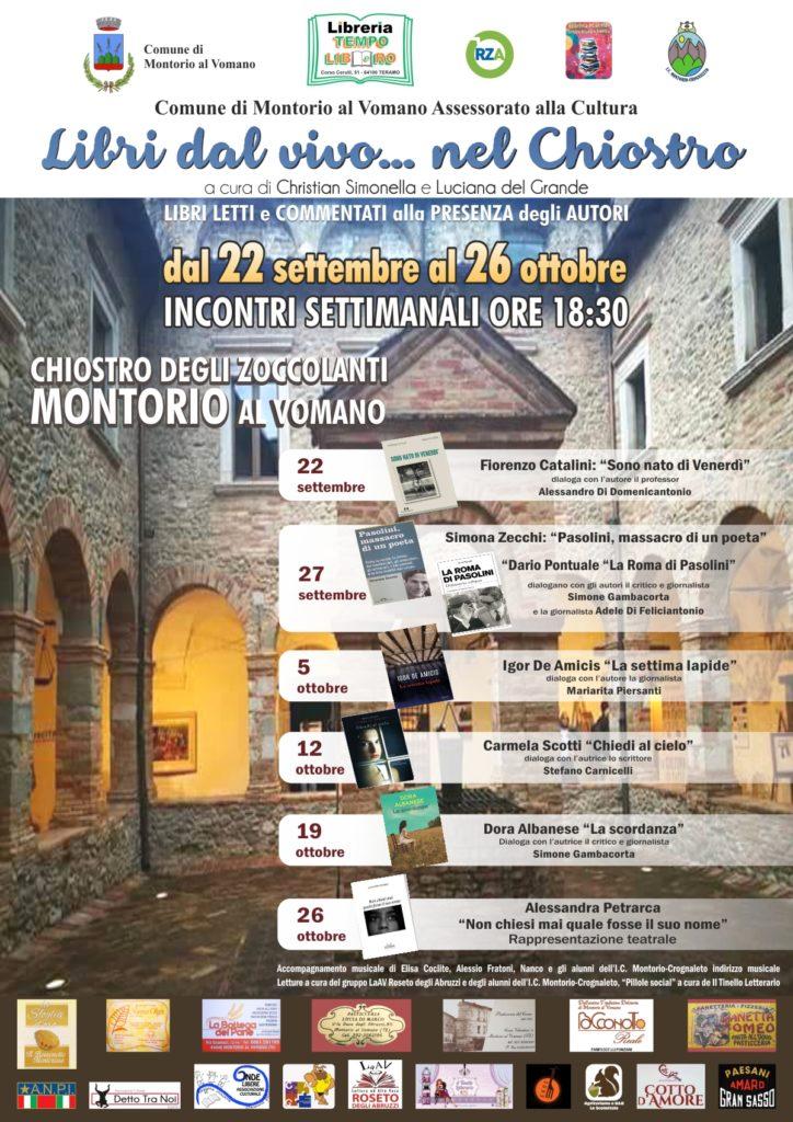 """Montorio al Vomano. Rassegna culturale """"Libri dal vivo… nel Chiostro"""" presso ilsuggestivo Chiostro degli Zoccolanti."""