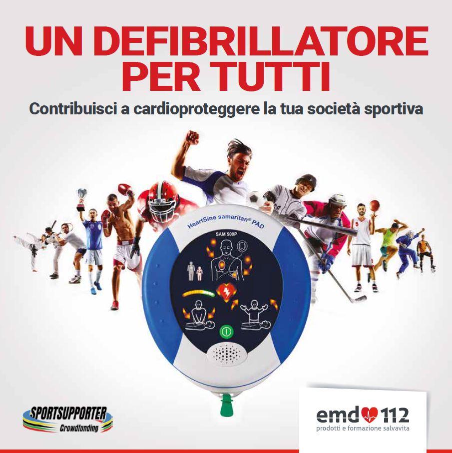 """Sport e Salute. Emd112 e SportSupporter lanciano l'iniziativa """"Un defibrillatore per tutti"""""""