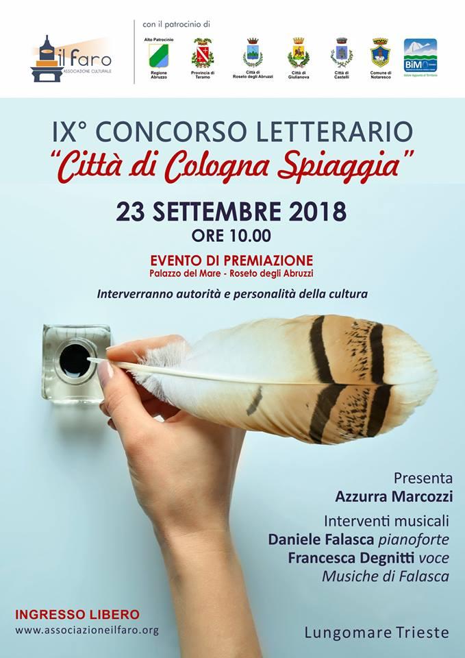 """9° edizione del concorso letterario """"Città di Cologna Spiaggia"""" a cura dell'associazione culturale """"Il Faro"""""""