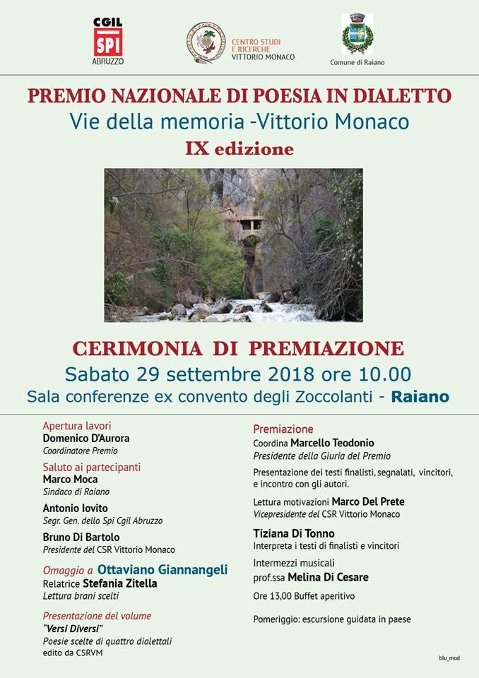 """Premiazione della IX edizione del Premio di Poesia in dialetto """"Vie della Memoria-Vittorio Monaco""""."""