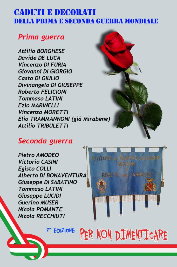 Roseto degli Abruzzi. Per non dimenticare 2018 – 7^ Edizione Caduti e decorati rosetani della prima e seconda guerra mondiale