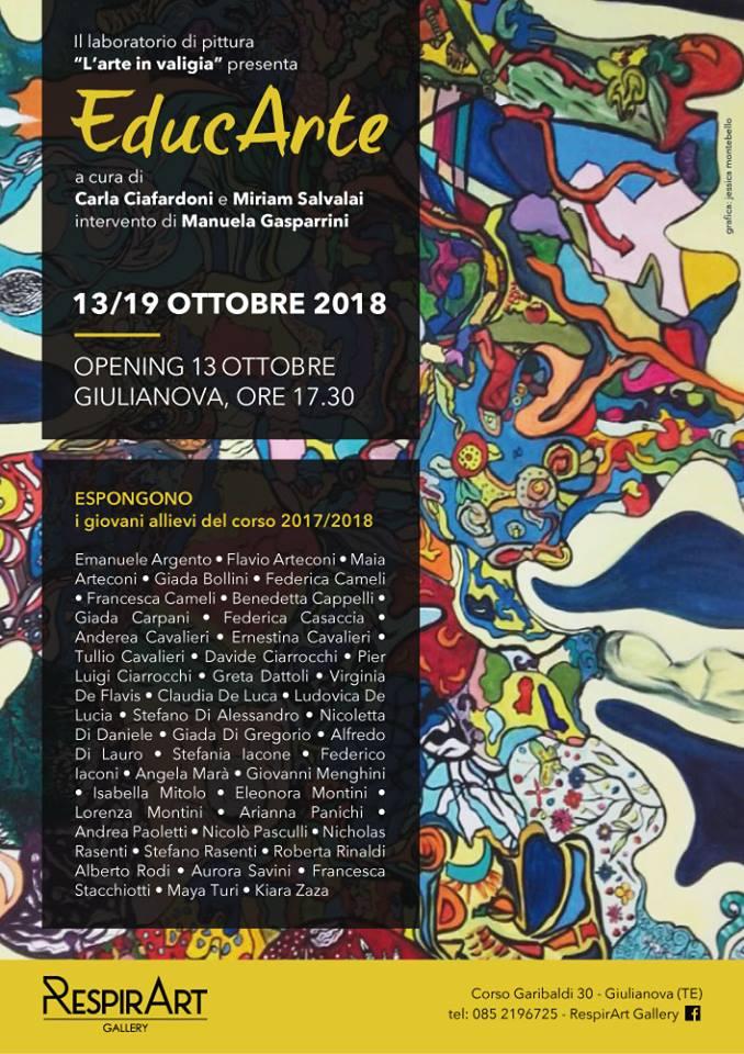"""Giulianova. Collettiva di pittura """"EDUCARTE"""" A cura di Carla Ciafardoni e Miriam Salvalai"""