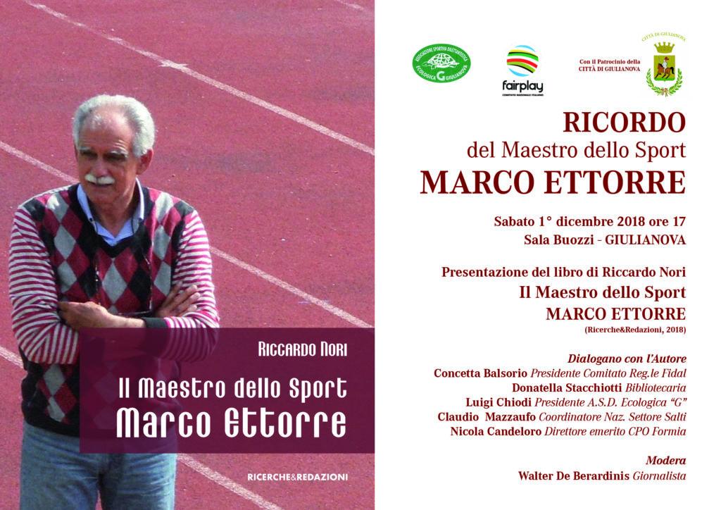 Giulianova. Presentazione libro in ricordo del Maestro dello Sport, Marco Ettorre. Sabato 1 dicembre, ore 17,00 Sala Buozzi