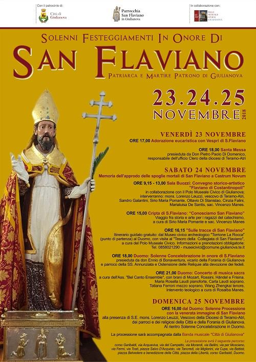 Giulianova. Il programma della Festa in onore di San Flaviano: 23, 24 e 25 novembre 2018