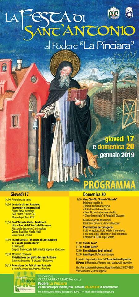 """Giulianova. La festa di Sant'Antonio presso la POC – Podere """"La Pinciara"""" (via naz. x Teramo) il 17 e 20 gennaio 2019"""