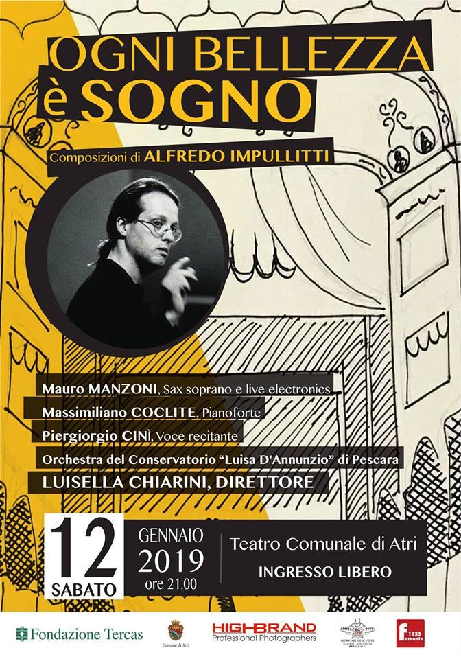"""Atri. Concerto in onore del Maestro Alfredo Impullitti a cura dell'Orchestra Sinfonica""""Luisa D'Annunzio"""" di Pescara, diretta dal Maestro Luisella Chiarini."""