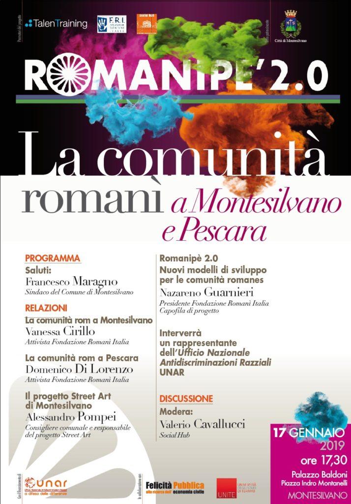 """""""Romanipè 2.0 – La comunità romanì a Montesilvano e Pescara""""    A Montesilvano un convegno in collaborazione con l'Ufficio Nazionale Antidiscriminazioni Razziali"""