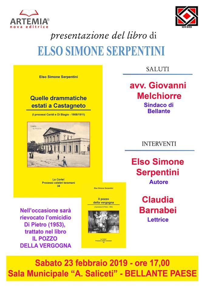 """Bellante. Presentazione del libro """"Quelle drammatiche estati a Castagneto"""", ultima fatica editoriale del Prof. Elso Simone Serpentini"""