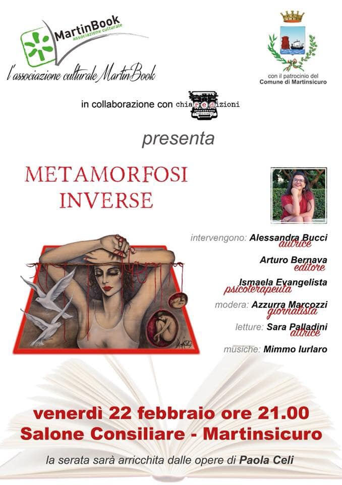 """Martinsicuro. Presentazione del romanzo """"Metamorfosi inverse"""" di Alessandra Bucci."""