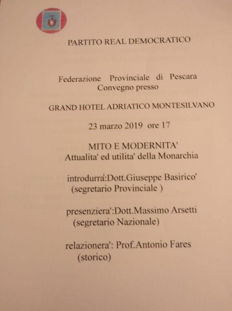 Pescara. Convegno del Partito Real Democratico: Mito e Modernità