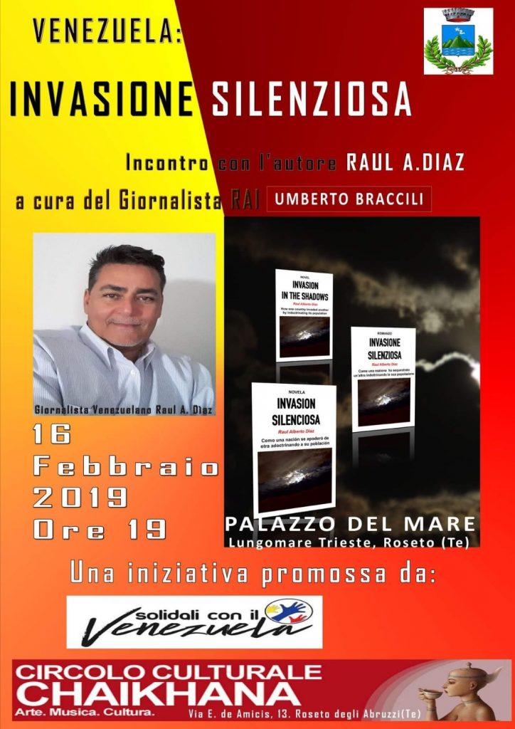 """Roseto degli Abruzzi. Presentazione del libro """"Invasione silenziosa"""""""