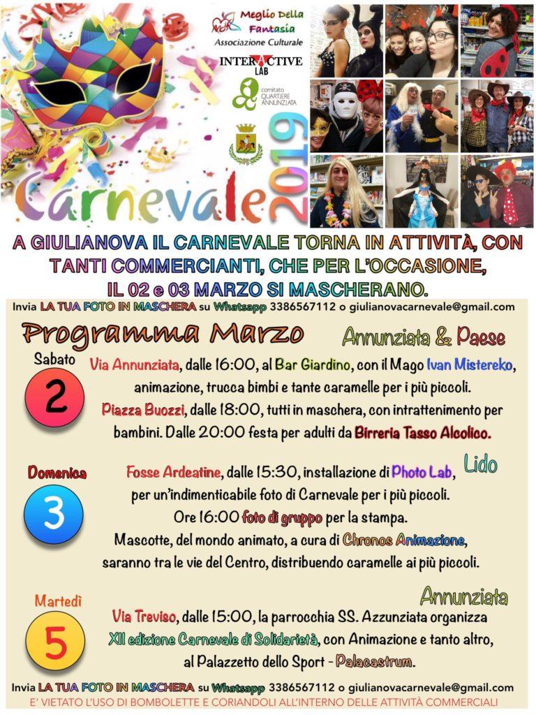 Giulianova. Torna il Carnevale giuliese: 2,3 e 5 marzo 2019