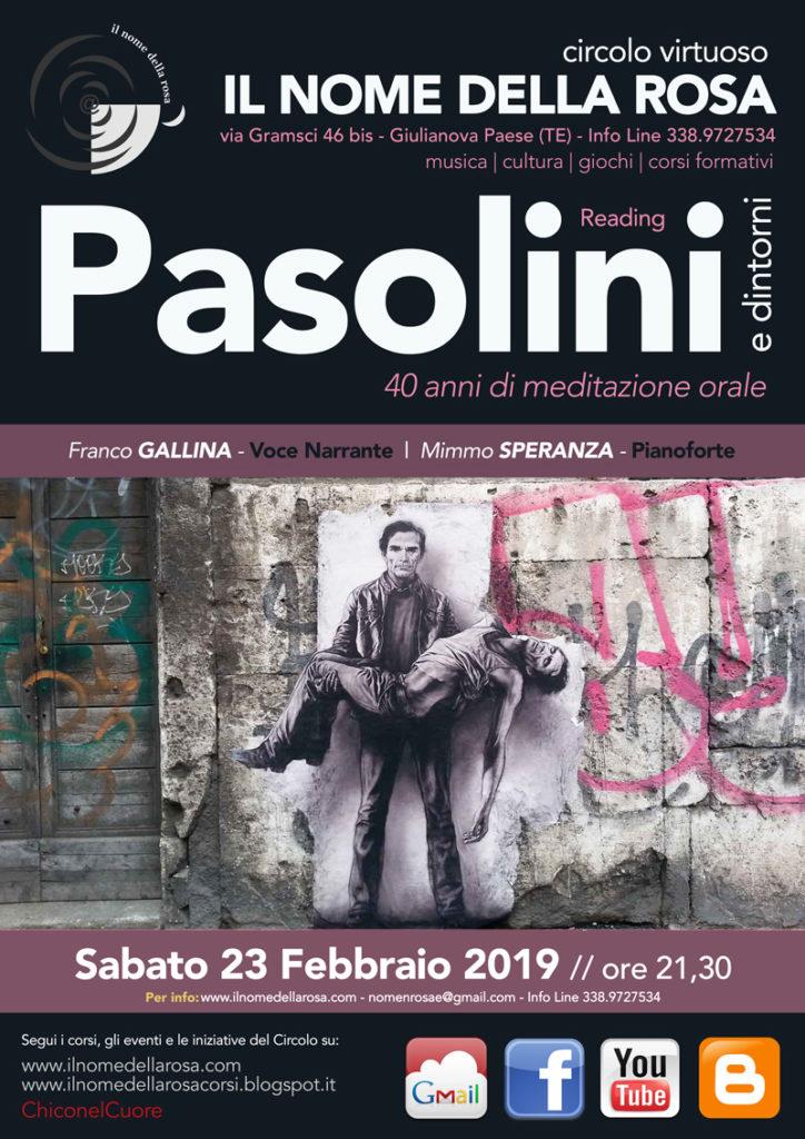 """Giulianova. Reading  """"pasolini e dintorni""""  40 anni di meditazione orale  Franco gallina – voce narrante"""