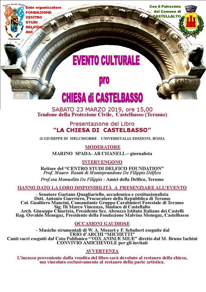 """Castelbasso (TE). Presentazione del libro """"La Chiesa di Castelbasso"""" di Giuseppe Melchiorre, sabato 23 marzo 2019"""