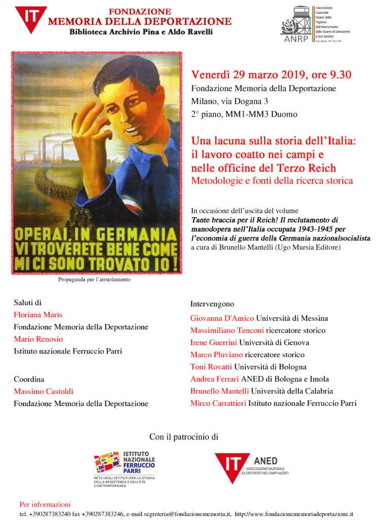 Milano. Una lacuna sulla storia dell'Italia: il lavoro coatto nei campi e nelle officine del Terzo Reich – Milano, 29 marzo 2019, ore 9.30