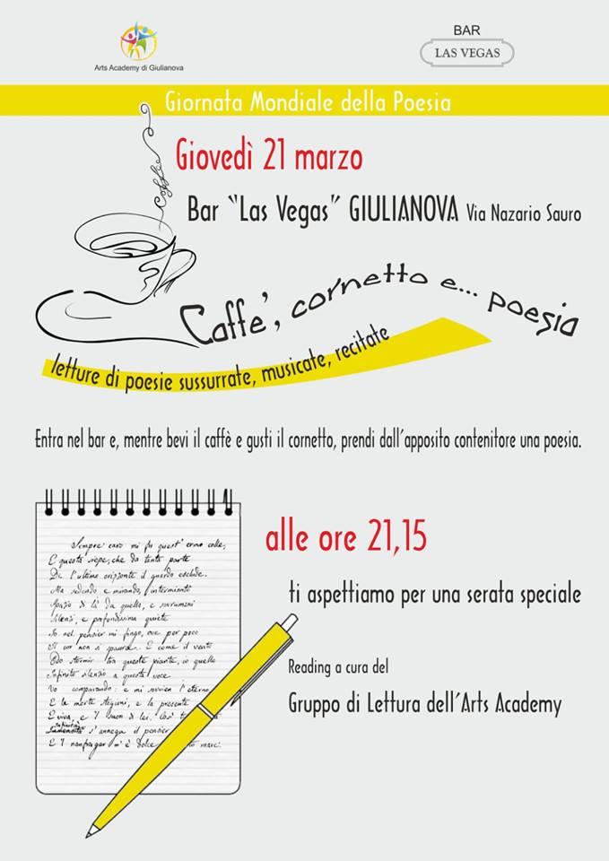 """Giulianova. L'AssociazioneArts Academy di Giulianovaaderisce alla bellissima iniziativa""""Caffè, cornetto e poesia"""""""