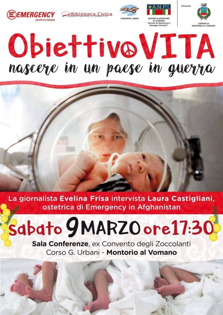 Montorio al Vomano. Programma manifestazione Obiettivo Vita. Nascere in un paese in guerra.