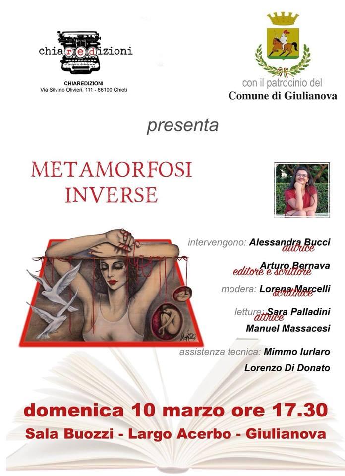 """Il nuovo libro di Alessandra Bucci """"Metamorfosi inverse"""" a Giulianova"""