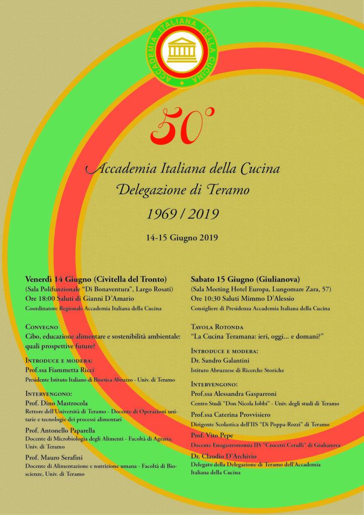 La Delegazione di Teramo dell'Accademia Italiana della Cucina celebra il suo Cinquantennale: 14-15 giugno