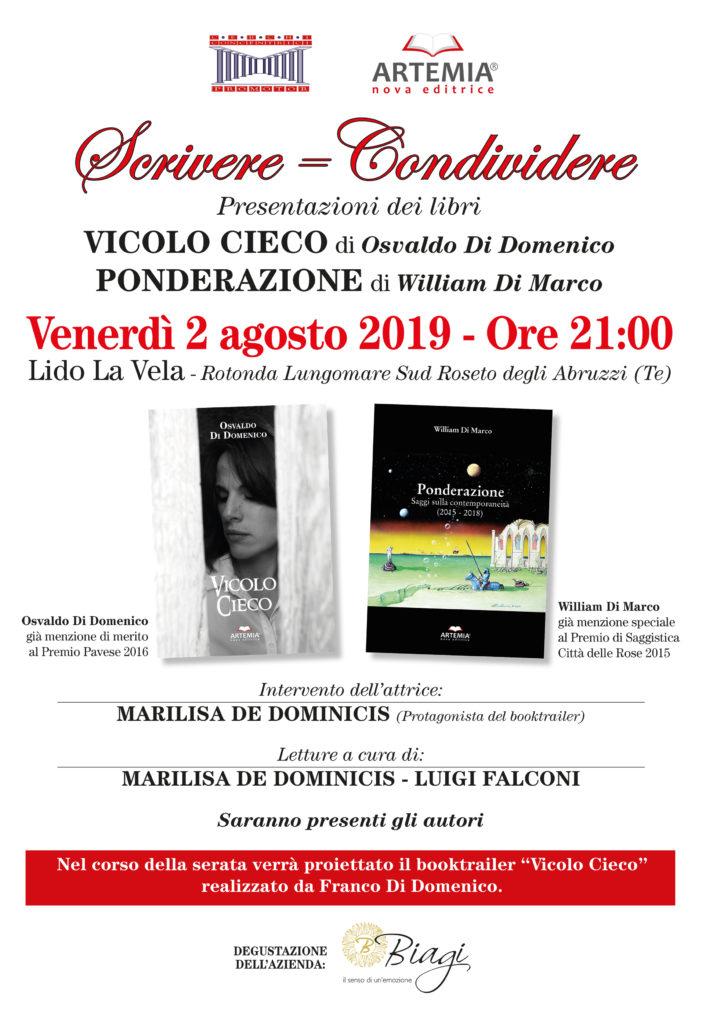 """Roseto degli Abruzzi. Presentazione dei libri """"Ponderazione"""" di William Di Marco e """"Vicolo Cieco"""" di Osvaldo Di Domenico"""