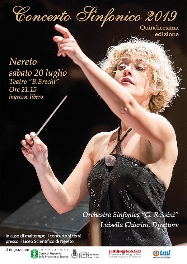 """Nereto. XV edizione del Concerto Sinfonico. Protagonista della serata sarà l'Orchestra Sinfonica """"G. Rossini"""" di Pesaro, diretta dal M° Luisella Chiarini"""