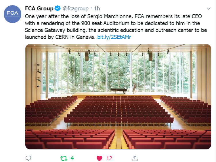 Torino. FCA ricorda il suo amministratore delegato con un'immagine del progetto del Science Gateway