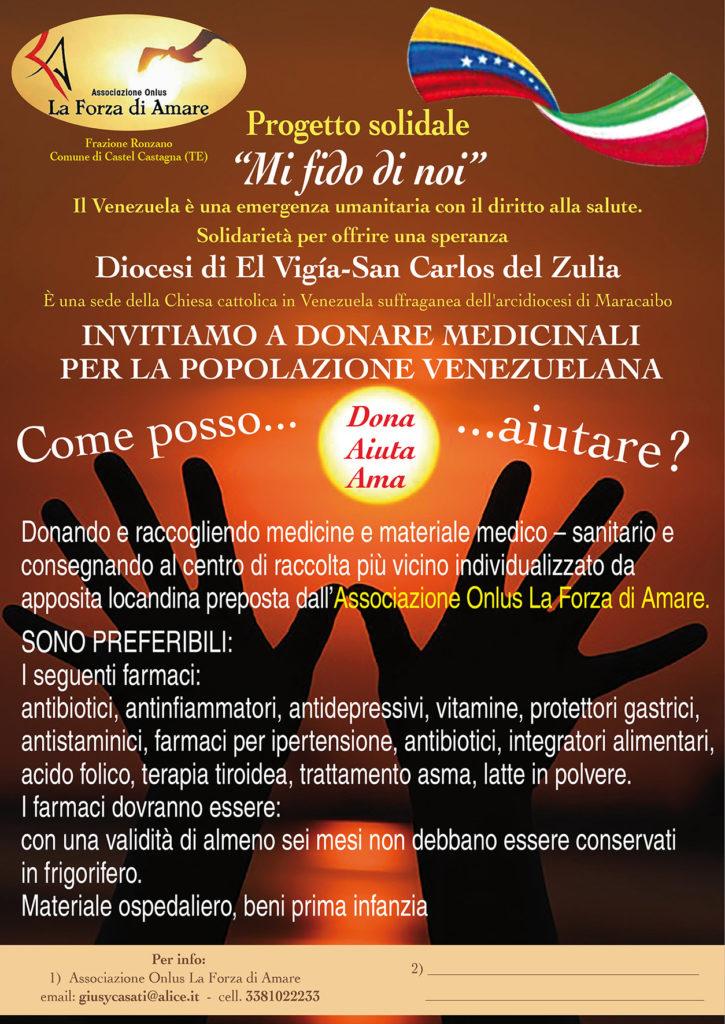 """Progetto solidale """"Mi fido di noi"""" per il Venezuela: il 20 luglio presso Tenuta Villa Verde – contrada San Giovanni-Basciano TE, Cena solidale"""