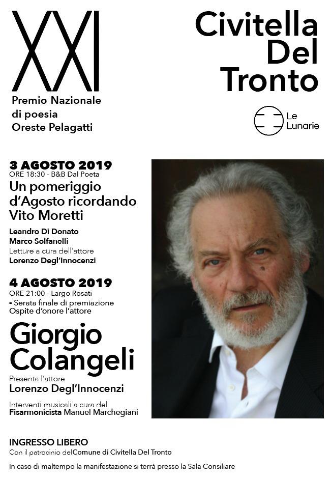 """Civitella del Tronto. XXI Edizione del Premio Nazionale di Poesia """"Oreste Pelagatti"""", 3 e 4 agosto 2019"""