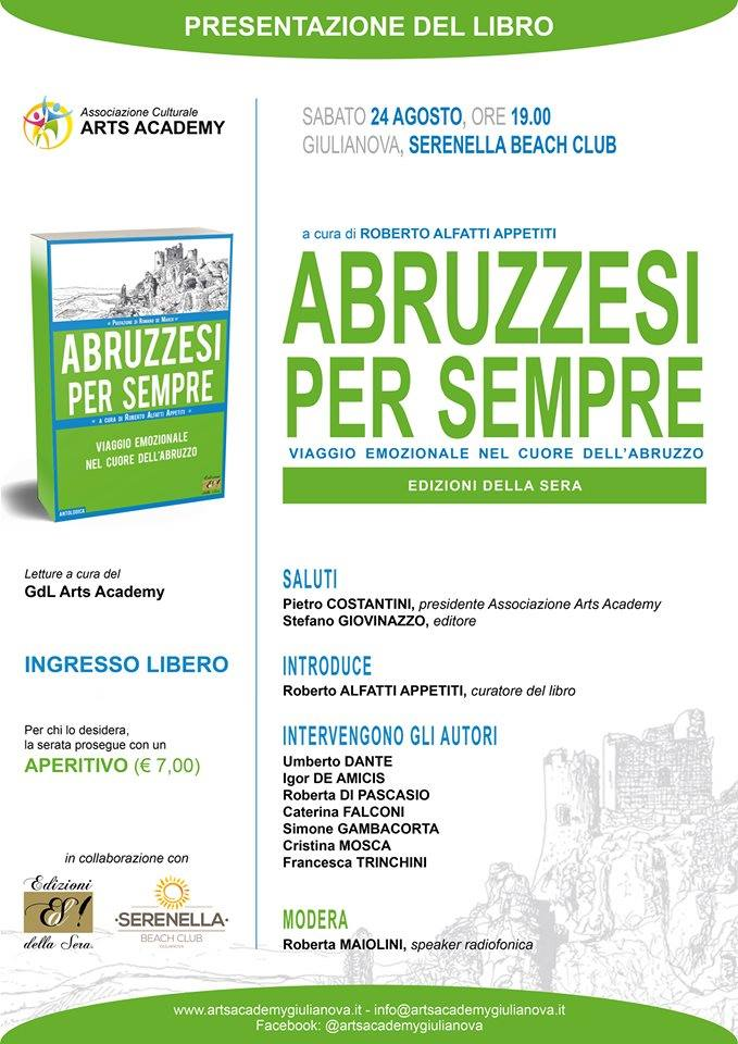"""Giulianova. presentazione del libro""""Abruzzesi per sempre. Viaggio emozionale nel cuore dell'Abruzzo"""",Edizioni della Sera di Stefano Giovinazzo."""