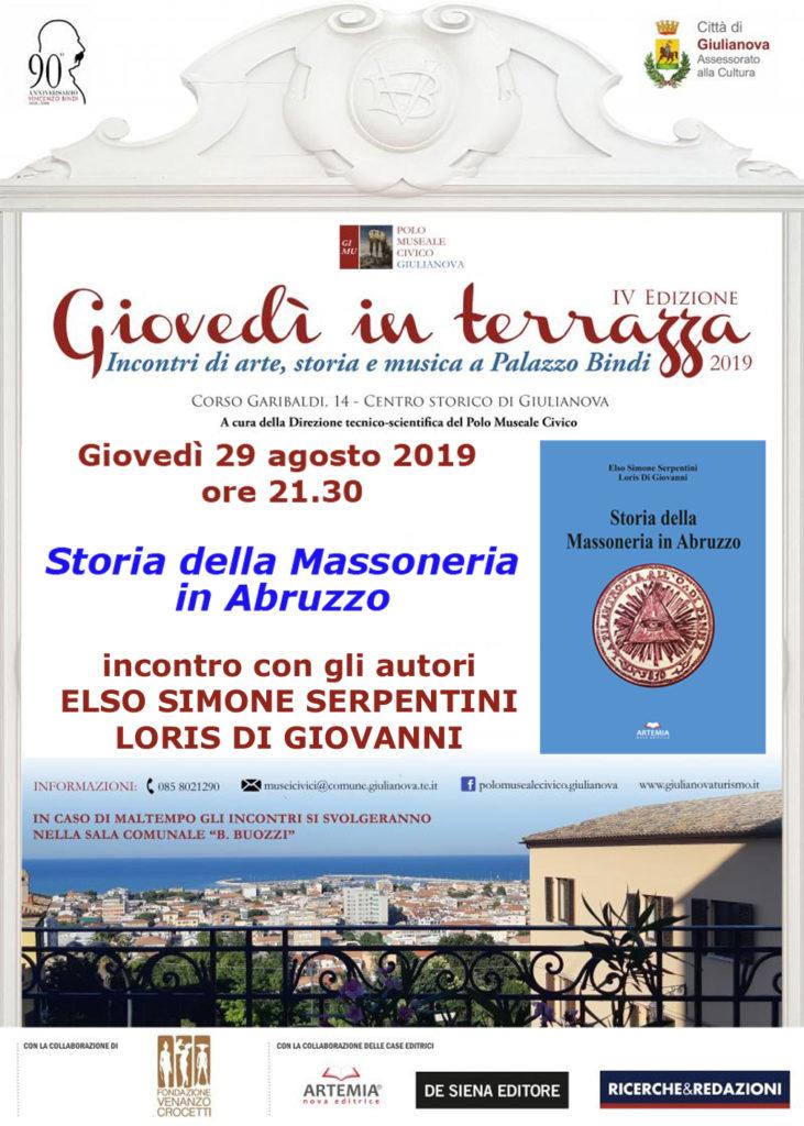 Giulianova. Storia della Massoneria in Abruzzo a Palazzo Bindi, giovedì 29 agosto