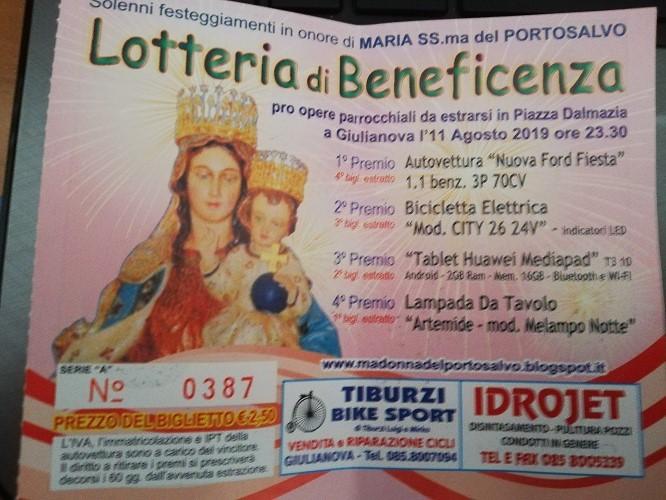 Giulianova. I numeri vincenti della Lotteria di Beneficenza in onore di Maria Santissima del Portosalvo