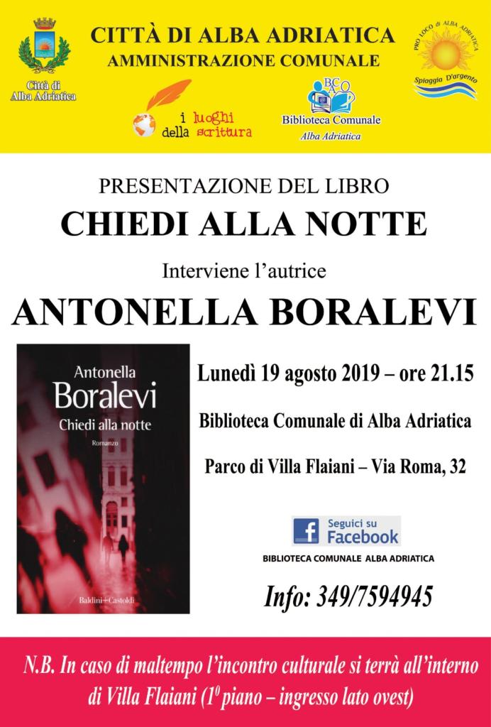 """Alba Adriatica. Presentazione del libro """"Chiedi alla notte"""" di Antonella Boralevi"""