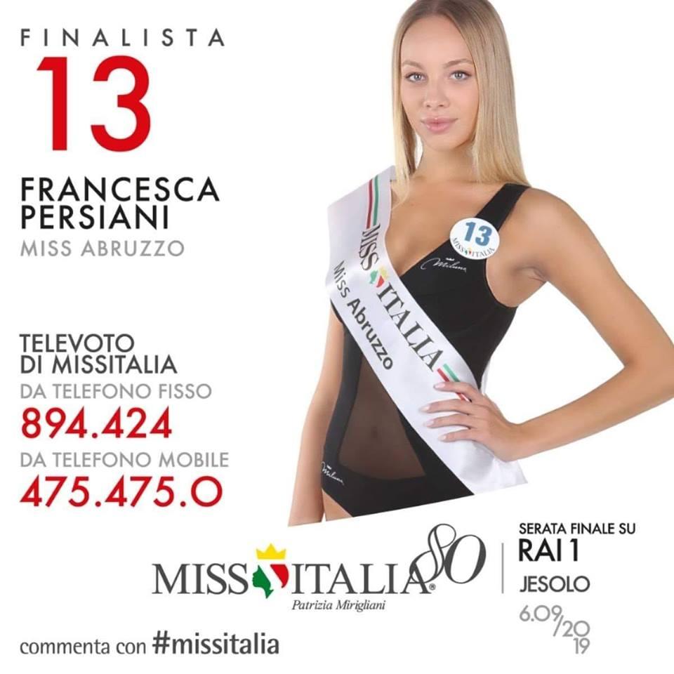 """Giulianova. Miss Italia 2019: la """"nostra"""" Francesca Persiani finalista con il numero 13. Aiutiamola con il televoto."""