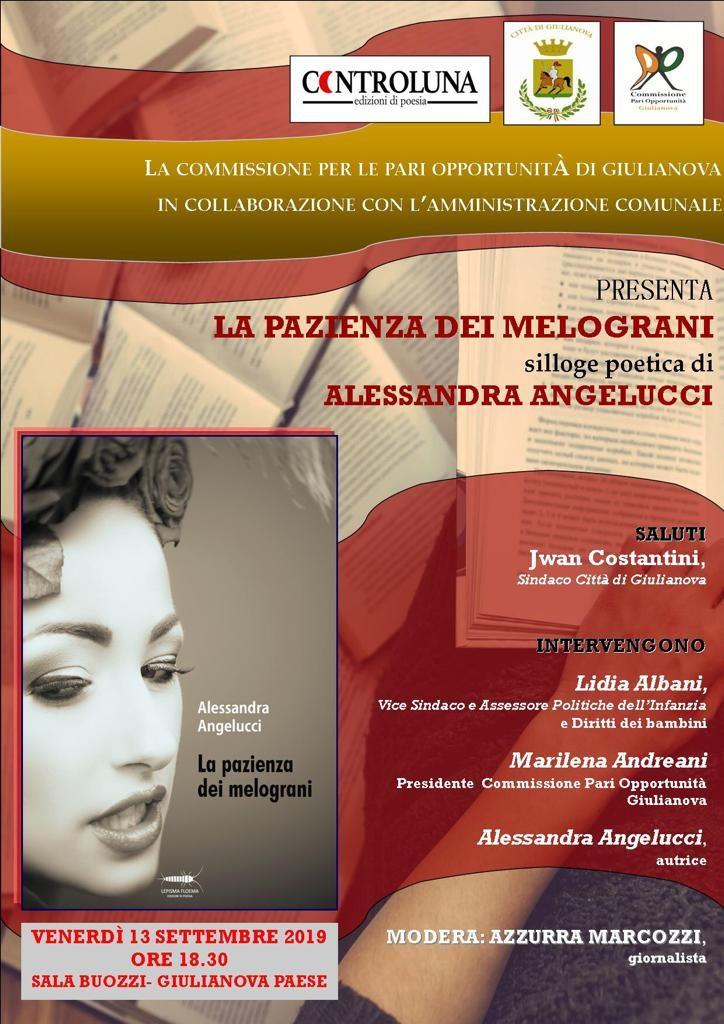 """La Commissione Pari Opportunità di Giulianova presenta """"La pazienza dei melograni"""" di Alessandra Angelucci"""