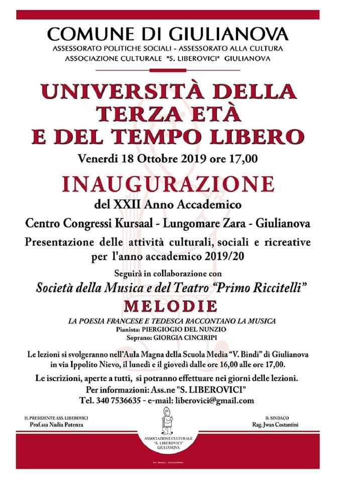 Venerdì 18 ottobre, al Kursaal, inaugurazione dell'Anno Accademico 2019/2010 dell'Università della Terza Età e del Tempo Libero