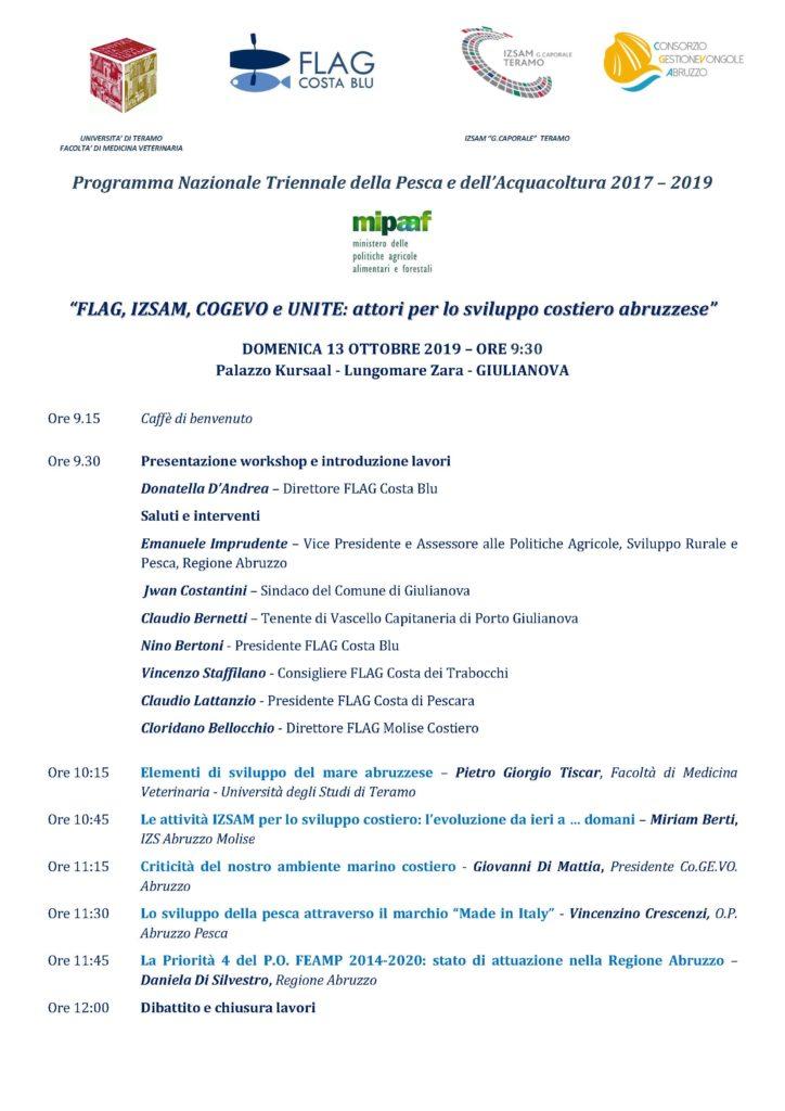 """Giulianova. """"FLAG, IZSAM, COGEVO e UNITE: attori per lo sviluppo costiero abruzzese"""". DOMENICA 13 OTTOBRE 2019 – ORE 9:30"""