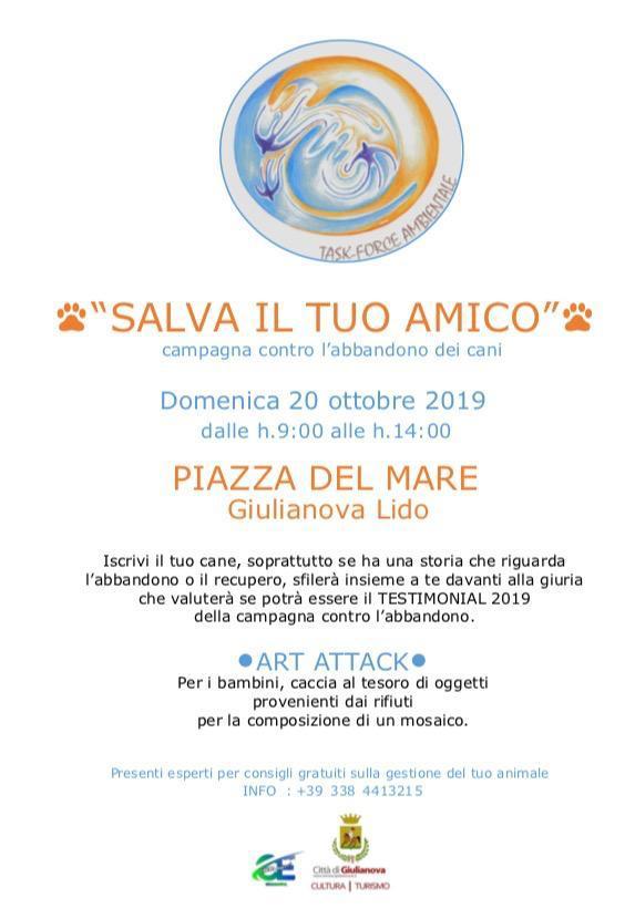 """Giulianova. """"Salva il tuo amico"""",domenica 20 ottobre campagna contro l'abbandono dei cani"""