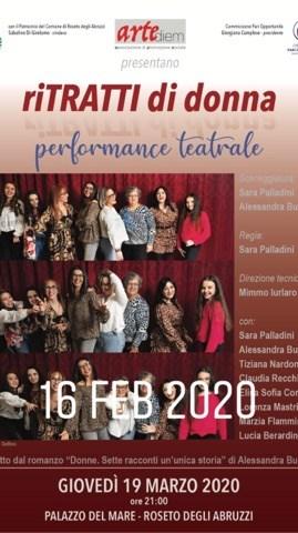 """Roseto degli Abruzzi. Il 19 marzo in scena lo spettacolo tutto al femminile """"riTRATTI DI DONNA""""."""