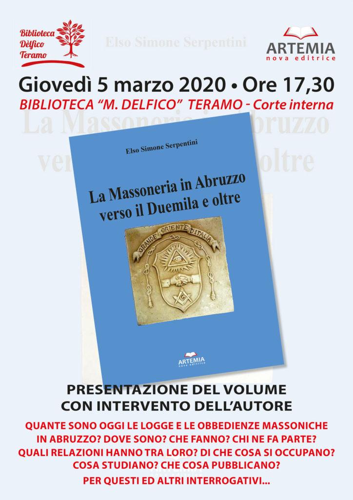 """Teramo. """"La Massoneria in Abruzzo verso il Duemila e oltre"""", ultima fatica editoriale del prof. Elso Simone Serpentini"""