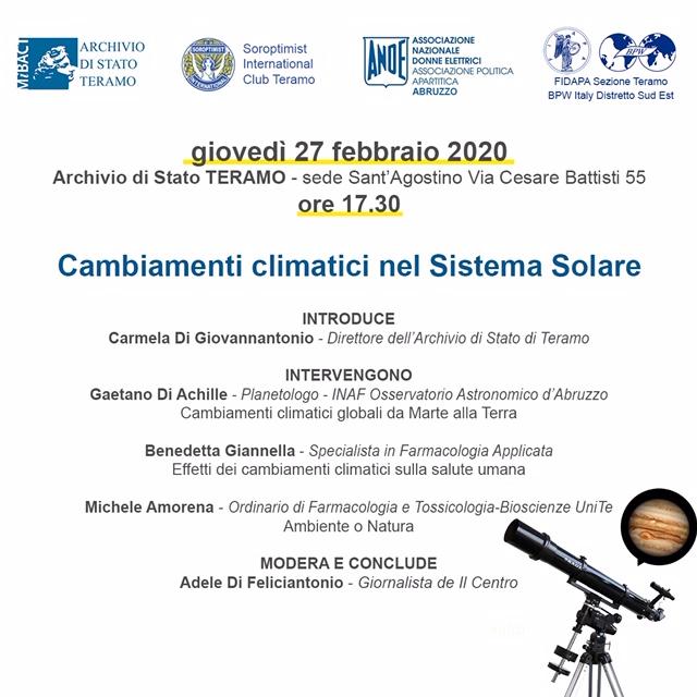 Teramo. Archivio di Stato di Teramo: Cambiamenti Climatici nel Sistema Solare