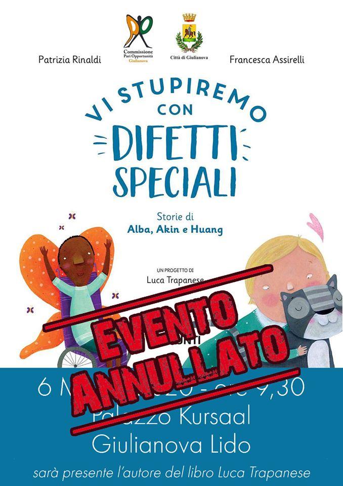 """Giulianova. Rinviata a data da destinarsi la presentazione del libro per bambini """"Vi stupiremo con difetti speciali"""""""