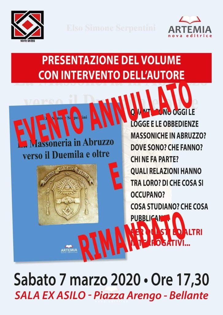 Bellante. Annullata la presentazione del nuovo libro del prof. Elso Simone Serpentini sulla Massoneria
