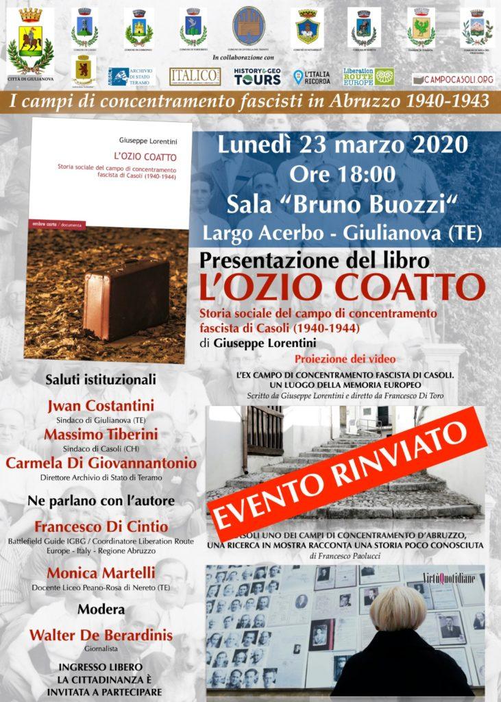 """Giulianova. Annullata la presentazione del libro """"Ozio Coatto"""" di Giuseppe Lorentini"""