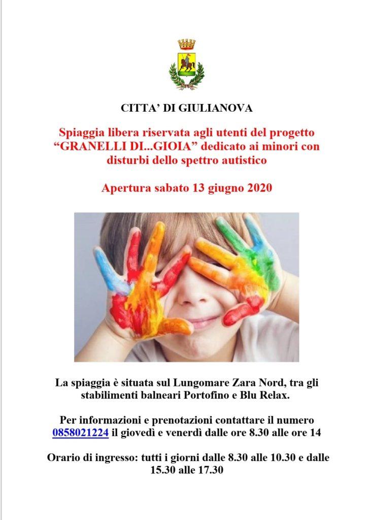 """Apertura spiaggia libera """"Granelli…di Gioia"""" dedicata ai minori con disturbi dello spettro autistico. Inaugurazione sabato 13 giugno"""