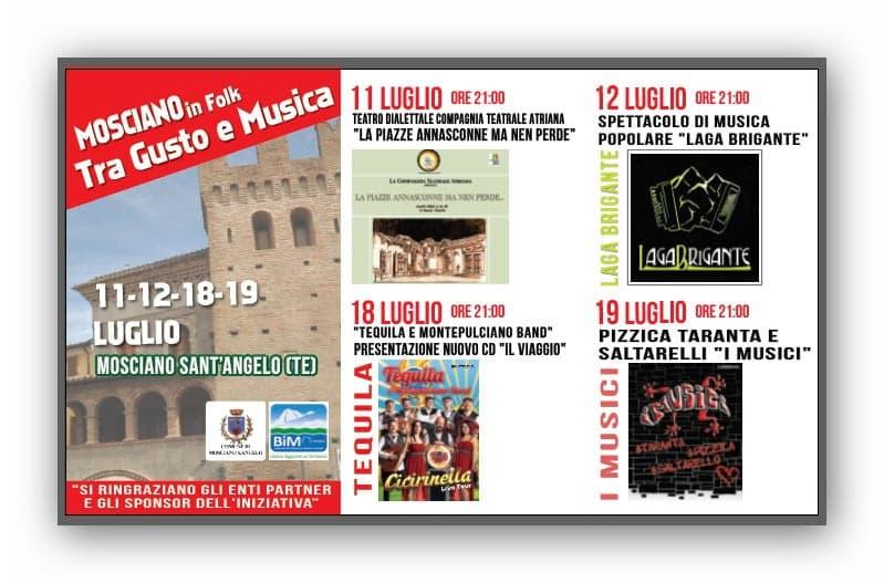 """Mosciano Sant'Angelo. Il mese di luglio con """"Tra Gusto e Musica"""" a cura dell'Assessorato alla Cultura."""