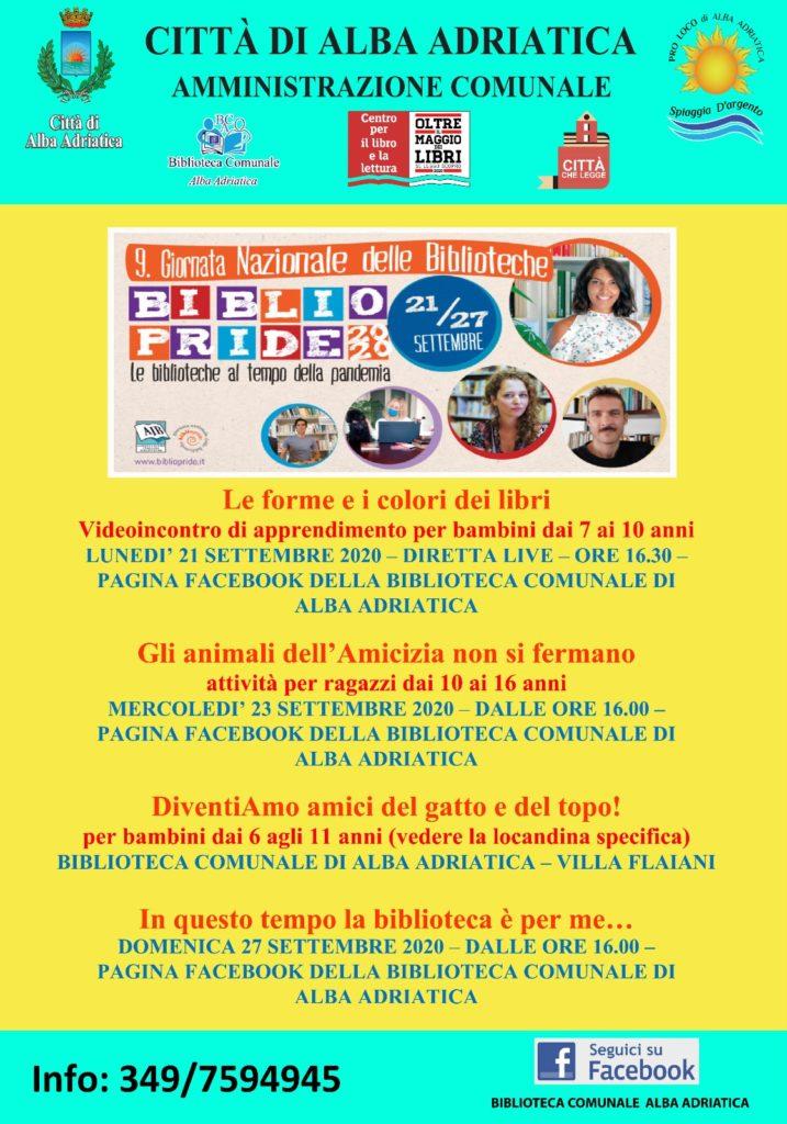 Alba Adriatica. Iniziative organizzate in occasione del Bibliopride – Giornata nazionale delle Biblioteche 2020.