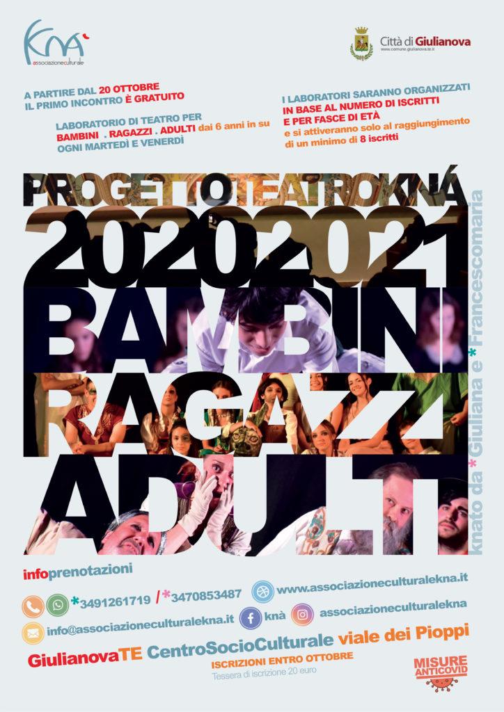 """Giulianova. Stanno per iniziare i corsi del """"Progetto Teatro Knà2020/2021"""" dedicati a bambini, ragazzi e adulti"""