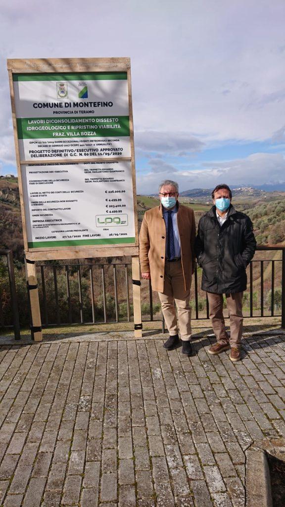 Al via i lavori di consolidamento dissesto idrogeologico a Villa Bozza di Montefino.  Il sottosegretario D'Annuntiis inaugura il cantiere