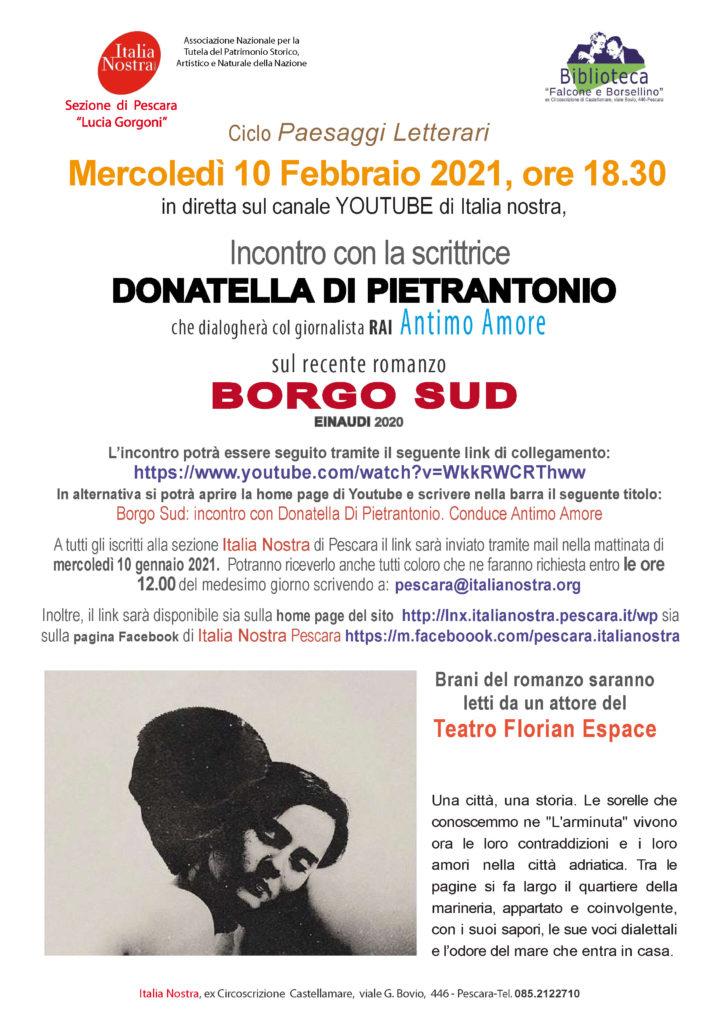 Mercoledì 10 febbraio, alle ore 18,30, la sezione Italia Nostra di Pescara presenta in Videoconferenza  BORGO SUD di Donatella Di Pietrantonio.