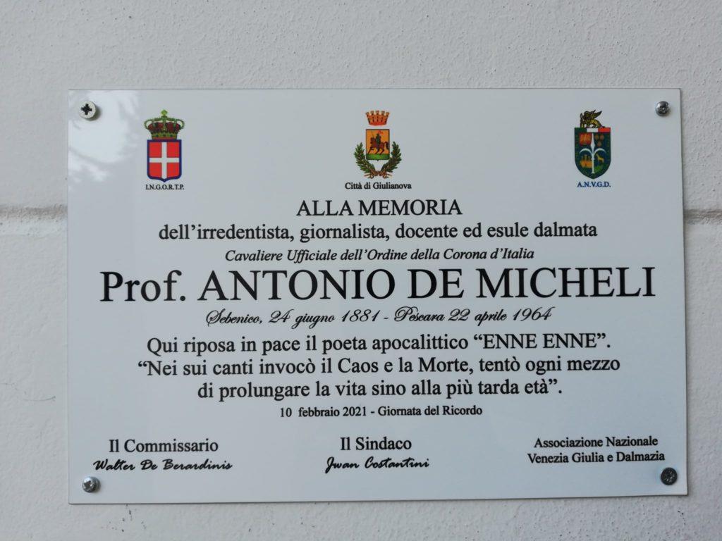 La città di Giulianova commemora il poeta Antonio De Micheli, esule nella Seconda Guerra Mondiale e sepolto nel cimitero monumentale